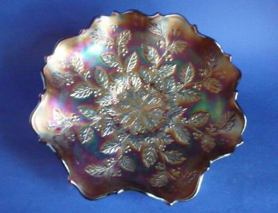 Fenton Amethyst Carnival Glass 'Holly' Ruffled Bowl